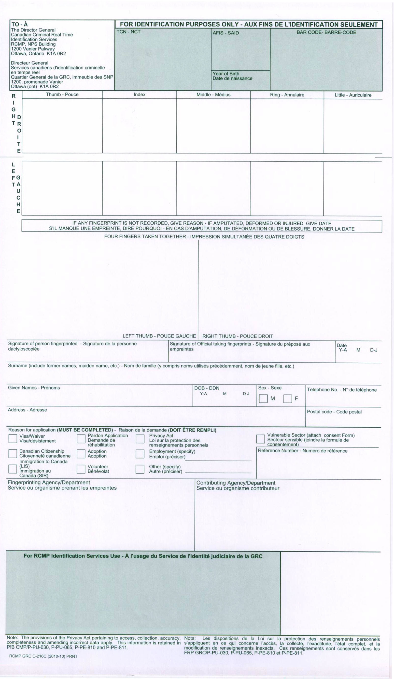 canadian criminal record check application form