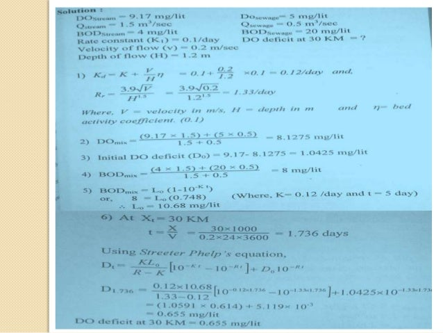 application of streeter phelps equation