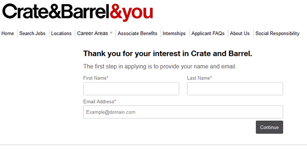 crate and barrel job application