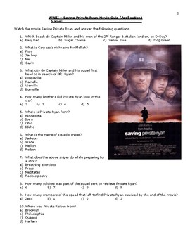 wwii saving private ryan movie quiz application answers