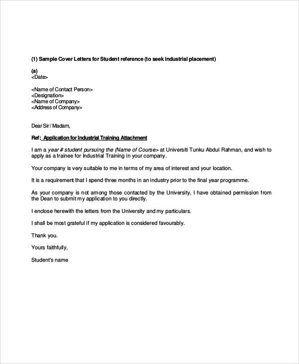 application for training letter from college