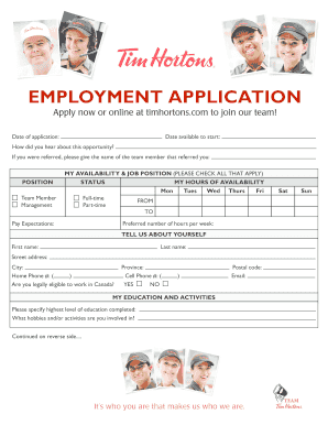 tim hortons job application form