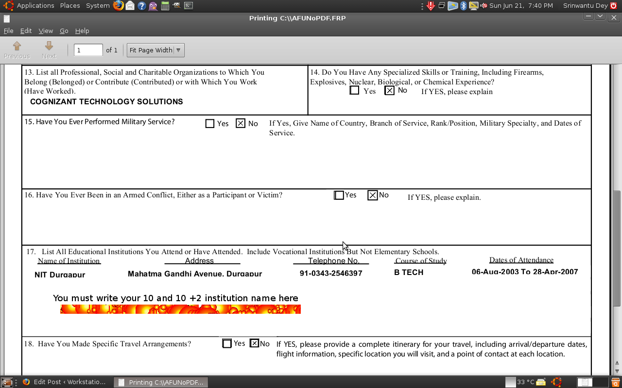 ds 158 visa application form
