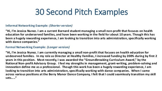 pitch example for job application