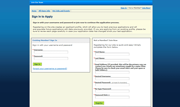 what is a web address on a job application